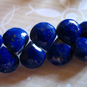 Shop Briolette Beads! LAPIS LAZULI Heart Briolettes Gemstone Beads Faceted Lapis Gem, 8-11 mm, Dark Navy Blue with Pyrite Inclusions, September Birthstone solo | Natural genuine other-shape Gemstone beads for beading and jewelry making.  #jewelry #beads #beadedjewelry #diyjewelry #jewelrymaking #beadstore #beading #affiliate #ad