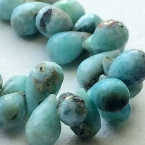 Larimar Beads, Larimar Faceted Teardrop Beads, Larimar Necklace, 6×7.5mm – 6x10mm, 12 Pcs – KS3253