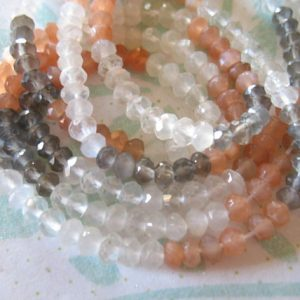 MOONSTONE RONDELLES Beads – Luxe AAA, 4-4.5 mm, 1/2 Strand – Peach, Rainbow, Gray Grey, june birthstone wholesale true solo 45 | Natural genuine rondelle Moonstone beads for beading and jewelry making.  #jewelry #beads #beadedjewelry #diyjewelry #jewelrymaking #beadstore #beading #affiliate #ad