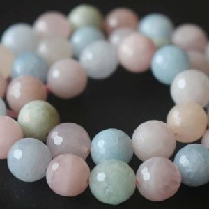 Natural 128 Faceted Morganite Round Beads, 6mm / 8mm / 10mm / 12mm Beads Supply, 15 Inches One Starand | Natural genuine faceted Morganite beads for beading and jewelry making.  #jewelry #beads #beadedjewelry #diyjewelry #jewelrymaking #beadstore #beading #affiliate #ad