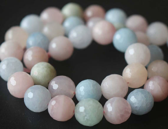 Natural 128 Faceted Morganite Round Beads, 6mm / 8mm / 10mm / 12mm Beads Supply, 15 Inches One Starand