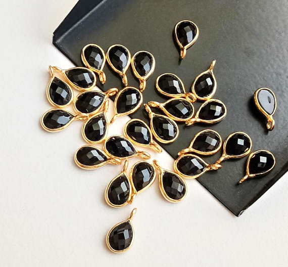 11-13mm Black Onyx Faceted Pear Shape Connectors, Single Loop Flat Back 925 Silver With Gold Polish Bezel Findings (5pcs To 25pcs Options)