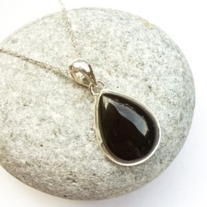 Shop Onyx Necklaces! Black Onyx Pendant, Teardrop Shape Onyx Silver Pendant, Black Onyx Necklace, Natural Gemstone, Black Stone Pendant, Small Teardrop Black Gem | Natural genuine Onyx necklaces. Buy crystal jewelry, handmade handcrafted artisan jewelry for women.  Unique handmade gift ideas. #jewelry #beadednecklaces #beadedjewelry #gift #shopping #handmadejewelry #fashion #style #product #necklaces #affiliate #ad