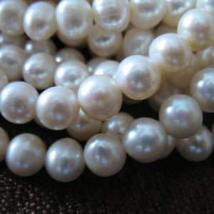 Shop Pearl Beads! 7-8 mm, ROUND WHITE Pearls, 1/2 Strand, 25 pcs /Freshwater LOOSE Pearl, Cultured, round off round, brides bridal june birthstone rw 788 solo | Natural genuine gemstone beads for making jewelry in various shapes & sizes. Buy crystal beads raw cut or polished for making handmade homemade handcrafted jewelry. #jewelry #beads #beadedjewelry #product #diy #diyjewelry #shopping #craft #product