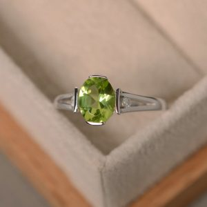 Shop Peridot Rings! Peridot Ring, August birthstone, silver, finished with rhodium | Natural genuine Peridot rings, simple unique handcrafted gemstone rings. #rings #jewelry #shopping #gift #handmade #fashion #style #affiliate #ad