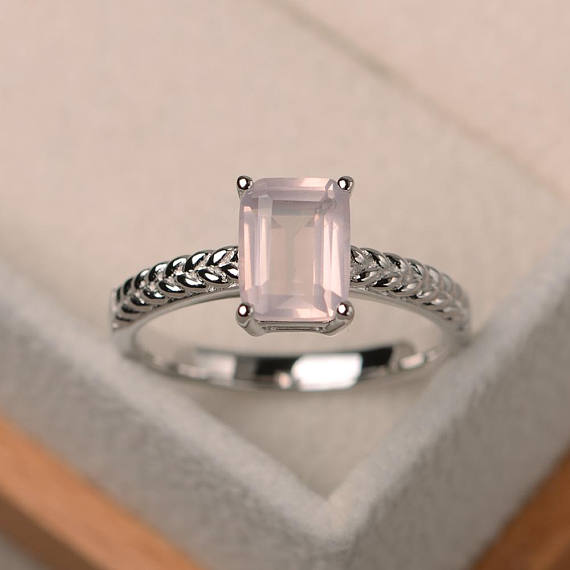 Natural Pink Quartz Ring, Engagement Ring, Emerald Cut Pink Gemstone, Solitaire Ring, Sterling Silver Ring
