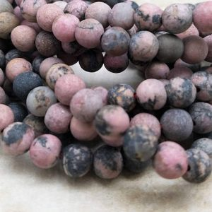 Shop Rhodonite Beads! 6 or 8mm Black Vein Rhodonite Matte Rounds, 16 inch | Natural genuine beads Rhodonite beads for beading and jewelry making.  #jewelry #beads #beadedjewelry #diyjewelry #jewelrymaking #beadstore #beading #affiliate #ad
