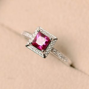 Shop Ruby Rings! Ruby ring, lab created ruby, princess cut ruby | Natural genuine Ruby rings, simple unique handcrafted gemstone rings. #rings #jewelry #shopping #gift #handmade #fashion #style #affiliate #ad
