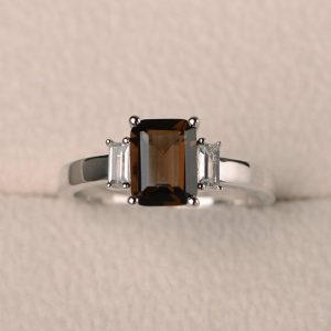 Cocktail party ring, natural smoky quartz ring, emerald cut brown gemstone, sterling silver ring