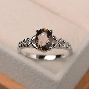 Shop Smoky Quartz Rings! Cocktail Party Ring, Natural Smoky Quartz Ring, Oval Cut Brown Gemstone, Sterling Silver Ring | Natural genuine Smoky Quartz rings, simple unique handcrafted gemstone rings. #rings #jewelry #shopping #gift #handmade #fashion #style #affiliate #ad