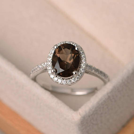 Smoky Quartz Ring, Oval Gemstone Ring, Sterling Silver Halo Ring, Oval Engagement Ring, Promise Ring