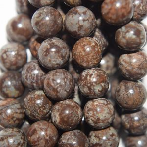 "Shop Snowflake Obsidian Round Beads! Genuine Obsidian Beads – Brown Snowflake Obsidian – Round 6 mm Gemstone Beads – Full Strand 15 1/2"", 61 beads, A Quality 