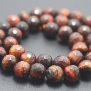 Shop Tiger Eye Faceted Beads! 128 Faceted Red Tigereye Round Beads,6mm/8mm/10mm/12mm Gemstone Beads Supply,15 inches one starand | Natural genuine faceted Tiger Eye beads for beading and jewelry making.  #jewelry #beads #beadedjewelry #diyjewelry #jewelrymaking #beadstore #beading #affiliate #ad
