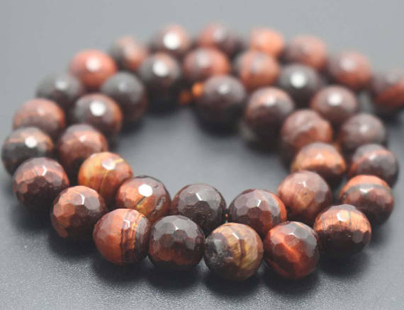 128 Faceted Red Tigereye Round Beads,6mm/8mm/10mm/12mm Gemstone Beads Supply,15 Inches One Starand