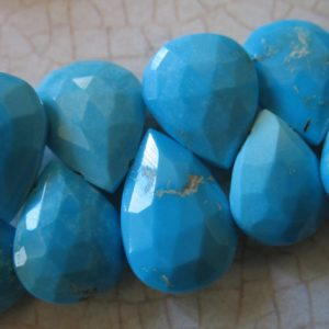 Shop Turquoise Bead Shapes! 14-15 mm, SLEEPING BEAUTY Turquoise Pear Briolette Bead, Huge Luxe AAA, Robins Egg Blue, genuine natural december birthstone tr 1415 solo | Natural genuine other-shape Turquoise beads for beading and jewelry making.  #jewelry #beads #beadedjewelry #diyjewelry #jewelrymaking #beadstore #beading #affiliate #ad