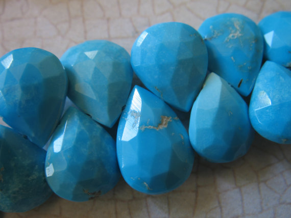 14-15 Mm, Sleeping Beauty Turquoise Pear Briolette Bead, Huge Luxe Aa, Robins Egg Blue, Genuine Natural December Birthstone Tr 1415 Solo