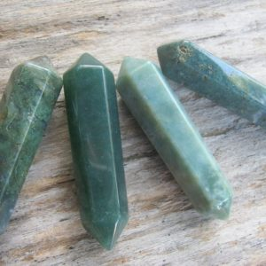 Shop Agate Points & Wands! 1 Moss Agate Wand, (One) DOUBLE TERMINATED Green Moss Agate, Mineral Specimen Meditation Stone, Reiki Gemstone, 2 1/2 inches x 5/8 inch | Natural genuine gemstones & crystals in various shapes & sizes. Buy raw cut, tumbled, or polished for making jewelry or crystal healing energy reiki stones. #crystals #gemstones #crystalhealing #crystalsandgemstones #energyhealing #affiliate