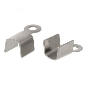 100 pcs Fold Cord Tips, Clasps, Ribbon Crimp End Caps - Fits 3.5mm - 304 Stainless Steel Cord Ends