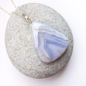 Shop Agate Pendants! Blue Lace Agate Pendant, Natural Blue Lace Agate Jewelry, Blue White Stone, Sterling Silver Pendant, Long Drop Blue Lace Agate. From Israel | Natural genuine Agate pendants. Buy crystal jewelry, handmade handcrafted artisan jewelry for women.  Unique handmade gift ideas. #jewelry #beadedpendants #beadedjewelry #gift #shopping #handmadejewelry #fashion #style #product #pendants #affiliate #ad