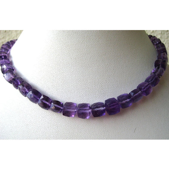 Amethyst Cubes - 8mm To 6mm Faceted Box Cut Amethyst - 8 Inch Strand - 33 Pieces Approx