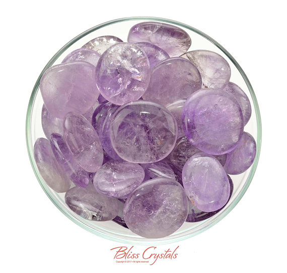 1 Gem Amethyst Lilac Palm Stone For Peace Calm Meditation Protection Healing Crystal And Stone #ap36