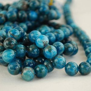 "High Quality Grade A Natural Apatite (teal Blue) Semi-precious Gemstone Round Beads – 4mm, 6mm, 8mm, 10mm Sizes – 16"" Strand"