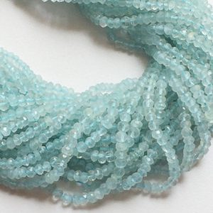 Shop Aquamarine Faceted Beads! 4mm Blue Aquamarine Faceted Rondelles, Aquamarine Micro Faceted Rondelles, Aquamarine Beads For Jewelry (1 Strand To 5 Strand Options) | Natural genuine faceted Aquamarine beads for beading and jewelry making.  #jewelry #beads #beadedjewelry #diyjewelry #jewelrymaking #beadstore #beading #affiliate #ad
