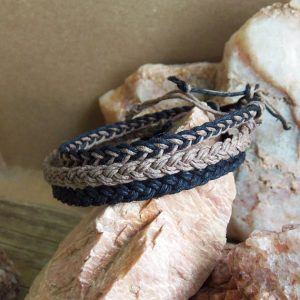 Shop Hemp Jewelry Making Supplies! Braided Hemp BRACELETs –  Set of 3 – Black Hemp, Brown Hemp, & Mixed – Braided Hippie Surfer Hemp for Men or Women | Shop jewelry making and beading supplies, tools & findings for DIY jewelry making and crafts. #jewelrymaking #diyjewelry #jewelrycrafts #jewelrysupplies #beading #affiliate #ad