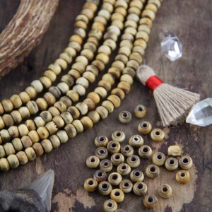 Drift : 7x5mm Balsa Wood Contoured Rondelle Beads, Natural Textured Beachy Brown, Tan Wood, Beads for Making Malas, Yoga Jewelry, 43 beads | Shop jewelry making and beading supplies, tools & findings for DIY jewelry making and crafts. #jewelrymaking #diyjewelry #jewelrycrafts #jewelrysupplies #beading #affiliate #ad