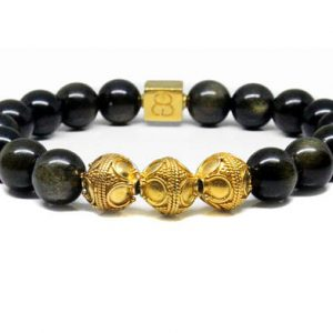 Shop Golden Obsidian Bracelets! Golden Shimmer Obsidian Bracelet, Men's Golden Obsidian Bracelet, Men's Gold Bracelet, Gold Beads Bracelet Men, Men's Luxury Bracelet | Natural genuine Golden Obsidian bracelets. Buy crystal jewelry, handmade handcrafted artisan jewelry for women.  Unique handmade gift ideas. #jewelry #beadedbracelets #beadedjewelry #gift #shopping #handmadejewelry #fashion #style #product #bracelets #affiliate #ad