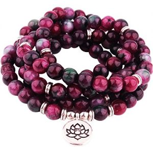 GVUSMIL 8mm Mala 108 Beads Necklace Wrap Bracelets for Yoga Buddhist Rosary Prayer Charm Natural Gemstone Jewelry for Women Men | Shop jewelry making and beading supplies, tools & findings for DIY jewelry making and crafts. #jewelrymaking #diyjewelry #jewelrycrafts #jewelrysupplies #beading #affiliate #ad