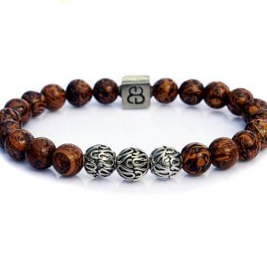 Shop Jasper Bracelets! Elephant Skin Jasper Bracelet, Men's Elephant Skin Jasper and Sterling Silver Bracelet, Mens Brown Bracelet, Men's Jasper Bracelet, Bracelet | Natural genuine Jasper bracelets. Buy handcrafted artisan men's jewelry, gifts for men.  Unique handmade mens fashion accessories. #jewelry #beadedbracelets #beadedjewelry #shopping #gift #handmadejewelry #bracelets #affiliate #ad