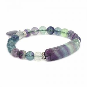 Natural Fluorite Gem Semi Precious Gemstone Love Heart Charm Stretch Bracelet | Shop beautiful natural gemstone jewelry in modern, chic, boho, elegant styles. Buy crystal handmade handcrafted artisan art jewelry & accessories. #jewelry #beaded #beadedjewelry #product #gifts #shopping #style #fashion