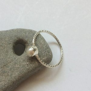 Shop Pearl Rings! Pearl silver ring, Dainty sterling silver ring, Stackable Pearl ring, Tiny round natural Pearl ring, Delicate shiny Pearl ring, From Israel | Natural genuine Pearl rings, simple unique handcrafted gemstone rings. #rings #jewelry #shopping #gift #handmade #fashion #style #affiliate #ad