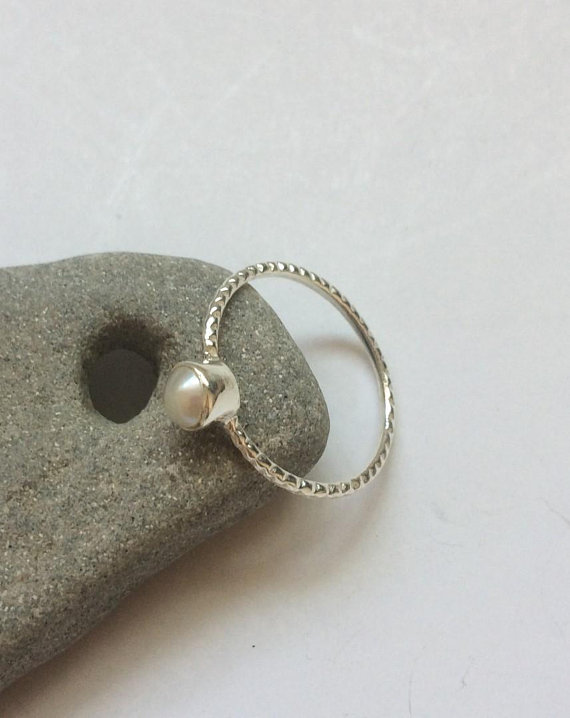 Pearl Silver Ring, Dainty Sterling Silver Ring, Stackable Pearl Ring, Tiny Round Natural Pearl Ring, Delicate Shiny Pearl Ring, From Israel