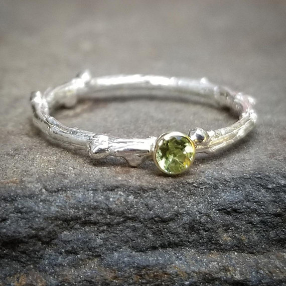 Natural Peridot Ring, Genuine Peridot Rings, 14k Gold August Birthstone Jewelry, Womens Gift, Silver Twig Ring, Unique Branch Stacking Ring