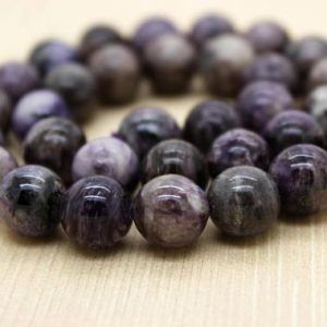 Shop Charoite Round Beads! Purple Lavender Charoite Round Ball Sphere Smooth Loose Gemstone Beads (4mm 6mm 8mm 10mm 12mm) – Full Strand | Natural genuine round Charoite beads for beading and jewelry making.  #jewelry #beads #beadedjewelry #diyjewelry #jewelrymaking #beadstore #beading #affiliate #ad