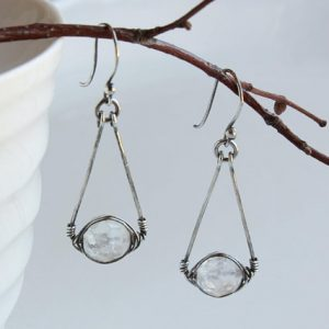 Rock Crystal Sterling Silver Earrings wire wrapped natural quartz gemstone handmade boho luxe statement dangle drops April birthstone 4719 | Natural genuine Gemstone earrings. Buy crystal jewelry, handmade handcrafted artisan jewelry for women.  Unique handmade gift ideas. #jewelry #beadedearrings #beadedjewelry #gift #shopping #handmadejewelry #fashion #style #product #earrings #affiliate #ad