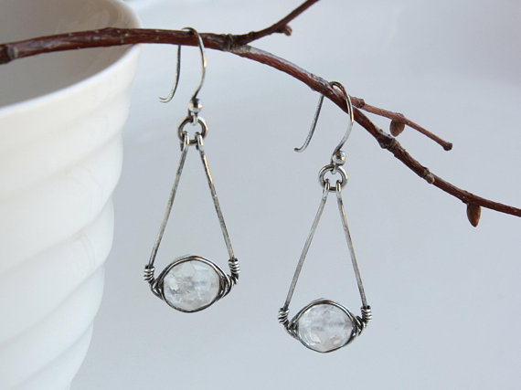 Rock Crystal Sterling Silver Earrings Wire Wrapped Natural Quartz Gemstone Handmade Boho Luxe Statement Dangle Drops April Birthstone 4719