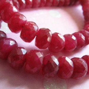 Shop Ruby Faceted Beads! 5-50 pcs, RUBY Rondelles, Luxe AAA, 4-5 mm, Gooorgeous Red, faceted, July birthstone love brides bridal weddings tr r 45 | Natural genuine faceted Ruby beads for beading and jewelry making.  #jewelry #beads #beadedjewelry #diyjewelry #jewelrymaking #beadstore #beading #affiliate #ad
