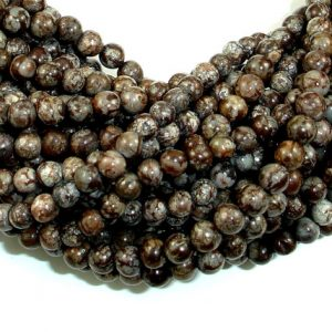 Shop Snowflake Obsidian Beads! Brown Snowflake Obsidian Beads, Round, 4mm (4.5 mm), 15.5 Inch, Full strand, Approx 94 beads, Hole 0.8 mm (193054004) | Natural genuine beads Snowflake Obsidian beads for beading and jewelry making.  #jewelry #beads #beadedjewelry #diyjewelry #jewelrymaking #beadstore #beading #affiliate #ad