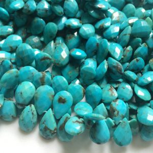 Shop Turquoise Faceted Beads! Arizona Turquoise Faceted Pear Beads, Natural Turquoise Briolettes, Turquoise Necklace, 8x11mm – 9x12mm, 10 Pcs – AGA68 | Natural genuine faceted Turquoise beads for beading and jewelry making.  #jewelry #beads #beadedjewelry #diyjewelry #jewelrymaking #beadstore #beading #affiliate #ad