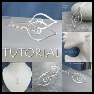 Shop Learn Beading - Books, Kits & Tutorials! Wire Jewelry Tutorial – SWIRL LEAVES (Pendant & Earrings) – Step by Step Wire Wrapping Wirework Instructions – Instant Download | Shop jewelry making and beading supplies, tools & findings for DIY jewelry making and crafts. #jewelrymaking #diyjewelry #jewelrycrafts #jewelrysupplies #beading #affiliate #ad