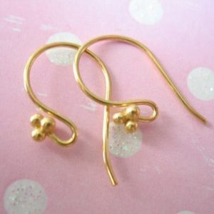 Shop Ear Wires & Posts for Making Earrings! 1 to 50 pairs, 24k Gold Vermeil French Hook Earrings Earwires Ear Wires Bulk, 21×10 mm, three balls detail, artisan diy findings solo fhe.tb | Shop jewelry making and beading supplies, tools & findings for DIY jewelry making and crafts. #jewelrymaking #diyjewelry #jewelrycrafts #jewelrysupplies #beading #affiliate #ad
