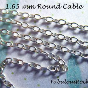 1-500 feet, 925 Sterling Silver Chain Bulk / UPGRADE 1.65 mm Oval Round Cable Chain / 10-40% Less Wholesale Chain SS S65 stp u tpc hp solo
