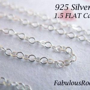 1-500 feet, Sterling Silver Chain Bulk, 1.5 mm Flat Cable or Round Cable Chain / Oval Link, Unfinished Chain / s88 s68 hp ss
