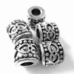 Shop Beads With Large Holes! 14 large hole beads antique silver textured spacers tibetan style rondelle beads large hole 8mm x 9mm | Shop jewelry making and beading supplies, tools & findings for DIY jewelry making and crafts. #jewelrymaking #diyjewelry #jewelrycrafts #jewelrysupplies #beading #affiliate #ad