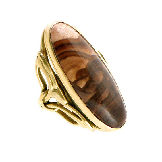 14k Gold & Picture Jasper Ring - Handcrafted With Decorative Shoulders - Long Vintage Ring - Size 6.25