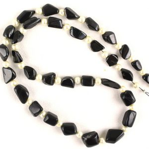 "Shop Onyx Chip & Nugget Beads! 16"" Long Black Onyx Smooth Nuggets Shape ,28 Pieces,Black Onyx Nuggets Beads,Gemstone Supplier, 5×7-9×13 MM Beads, Black Onyx Gemstone 