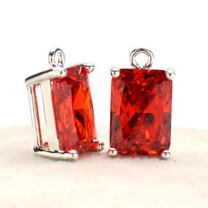 Shop Zircon Pendants! 2 Rectangle Red Zircon Pendant, 14mm, Silver Plated over Brass Prong Setting. [R1180291] | Natural genuine Zircon pendants. Buy crystal jewelry, handmade handcrafted artisan jewelry for women.  Unique handmade gift ideas. #jewelry #beadedpendants #beadedjewelry #gift #shopping #handmadejewelry #fashion #style #product #pendants #affiliate #ad